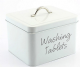 Vintage/ Retro Washing Tablet  Enamel Storage Box in White